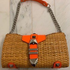 Rebecca Minkoff orange, metal, and woven clutch